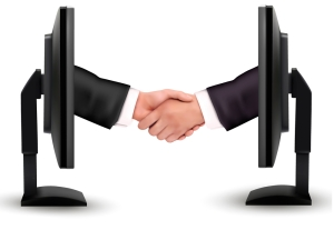 bigstock-Virtual-handshake-Internet-wo-33779075